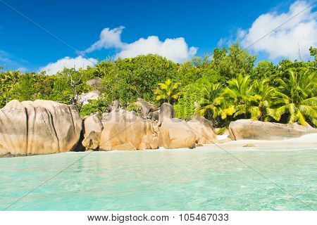 Beautiful and a famous beach Anse Lazio seen from the sea, Praslin island, Seychelles.