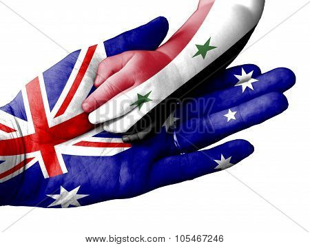 Adult Man Holding A Baby Hand With Australia And Syria Flags Overlaid. Isolated On White