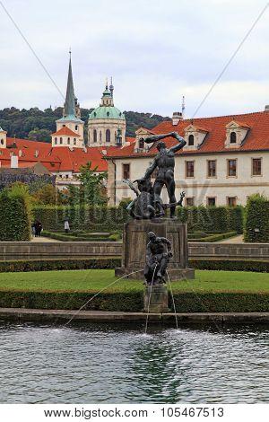 Fountain And Statue In Waldstein Garden And Prague Castle, Prague