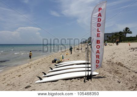Paddle Boards For Rent With Sign