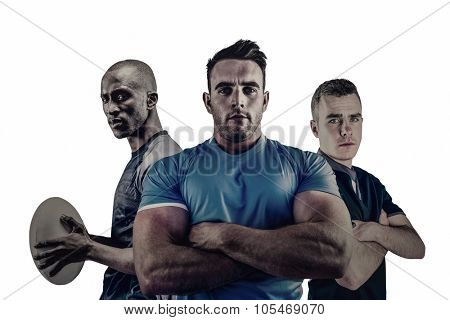 Group of Tough rugby players standing together