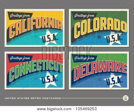 United States vintage typography postcards. California, Colorado, Connecticut, Delaware