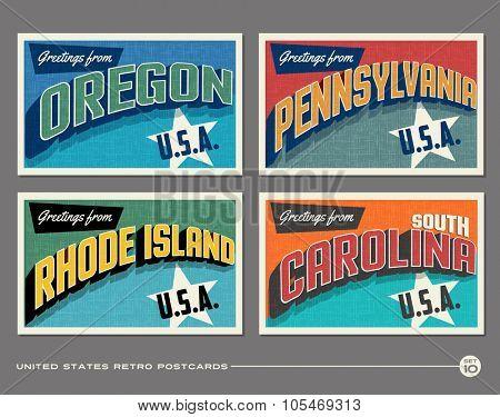 United States vintage typography postcards. Oregon, Pennsylvania, Rhode Island, South Carolina
