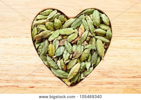 Green Cardamom Pods Heart Form