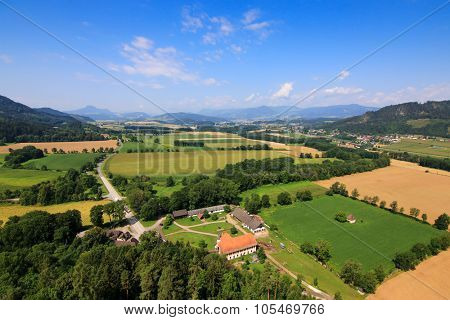 View of Carinthia during Summer season in Austria. Photo taken from the Burg Landskron Castle