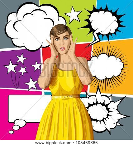 vector girl in dress, surprised and looking up, and big set of bubble speech
