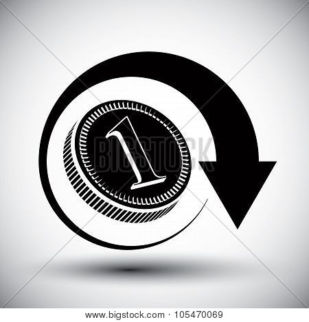 Coin Cash Money Vector Simple Icon with an arrow around