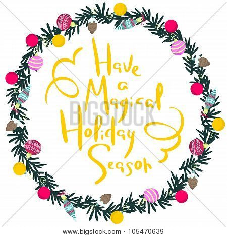 Colorful Poster With Decorative Christmas Wreath.