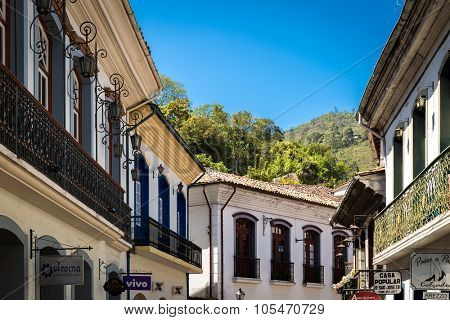 OURO PRETO, BRAZIL - CIRCA OCTOBER 2015: Antique houses in Ouro Preto in Minas Gerais, Brazil