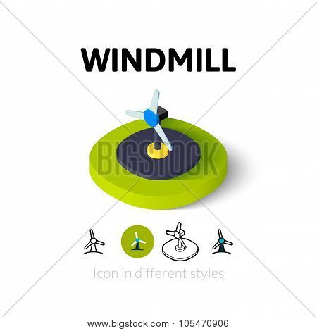 Windmill icon in different style