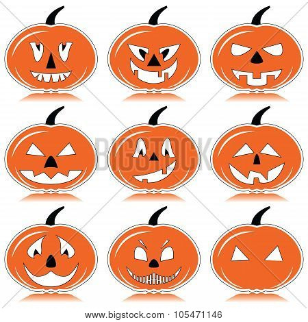 Halloween pumpkins in orange, black and white with shadow element