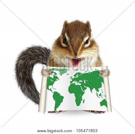 Funny Animal Chipmunk Holding Map On White