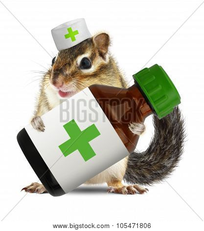 Funny Animal Chipmunk With Veterinarianhat Hold Bottle Medications