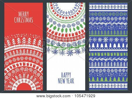 Set Of Vector Christmas And New Year Greeting Cards With Hand Drawn Doodle Ornament.