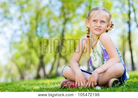 portrait of a girl in a park