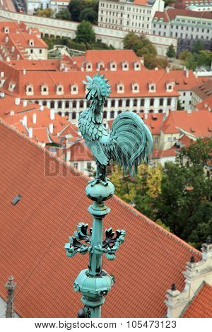 Bronze Cock At The Spire Of St. Vitus Cathedral, Prague