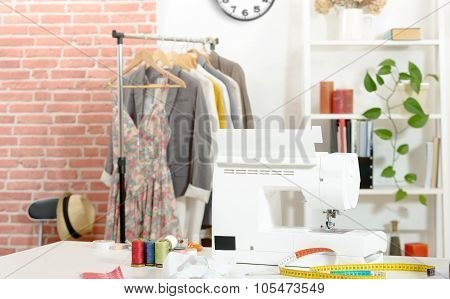 Sewing workshop, cloth, sewing machine,  Patterns of clothing