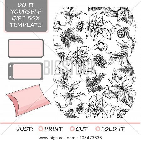 Favor, Gift Box Die Cut. Box Template With Winter Floral Pattern