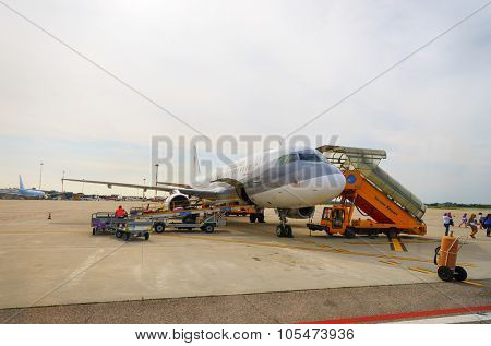 VERONA, ITALY - SEPTEMBER 15, 2014: Jet flight in Verona airport. Verona Villafranca Airport, also known as Valerio Catullo Airport is an airport located 2.7 NM southwest of Verona, Italy.