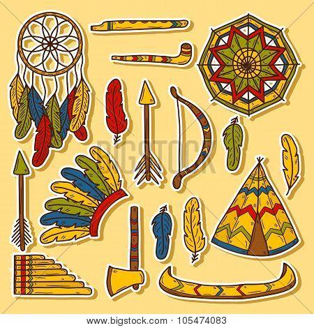 Injun hand drawn stickers