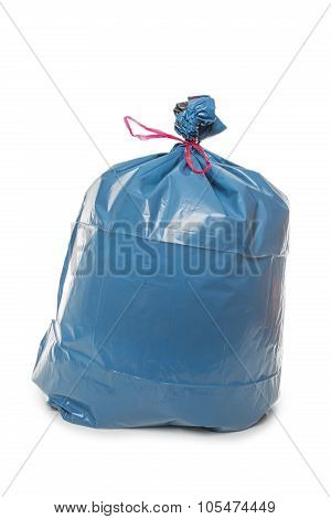 Blue Rubbish Bag On White