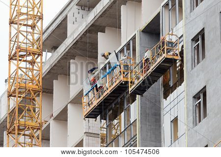 Odessa - October 20: Glazed Windows Double-glazed Windows In The Construction Of High-rise Buildings