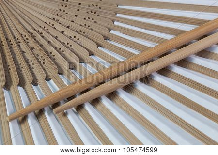 Typical Japanese Hand Fan And Chopsticks