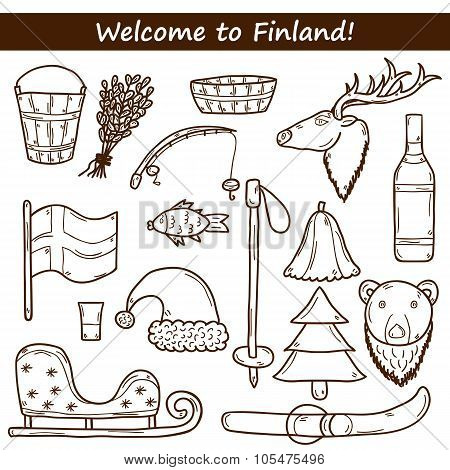 Finland hand drawn icons