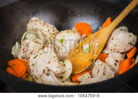 Cooking Turkey With Vegetables