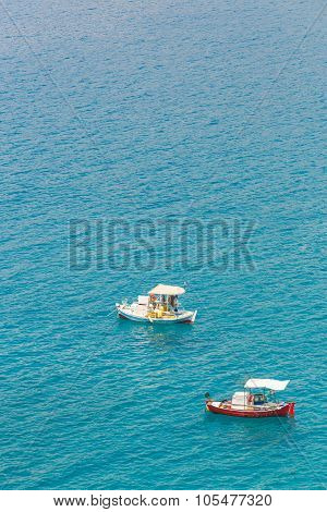 seascape with small fisherman boats