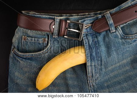 Big Banana And Mens Jeans, Like The Penis