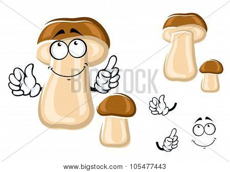 Smiling cartoon brown bolete mushroom