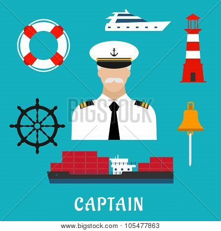 Captain profession and nautical flat icons