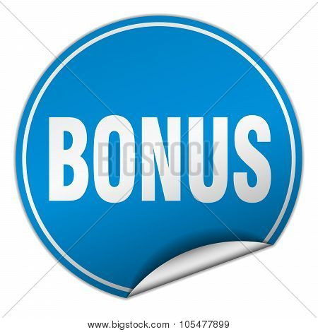 Bonus Round Blue Sticker Isolated On White