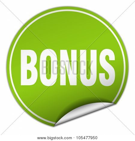 Bonus Round Green Sticker Isolated On White