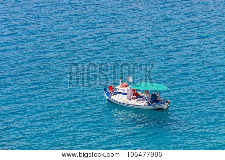 seascape with small fisherman boat