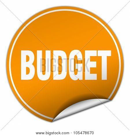 Budget Round Orange Sticker Isolated On White