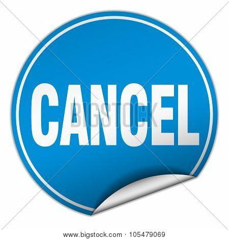 Cancel Round Blue Sticker Isolated On White