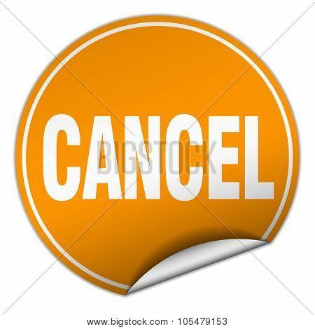 Cancel Round Orange Sticker Isolated On White