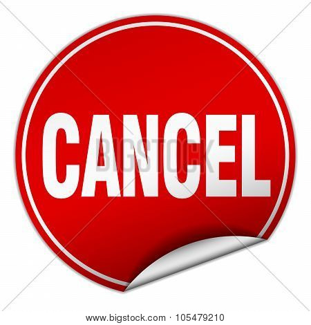 Cancel Round Red Sticker Isolated On White