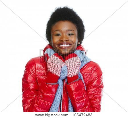 Beautiful African-american girl wearing winter coat. Isolated white background.