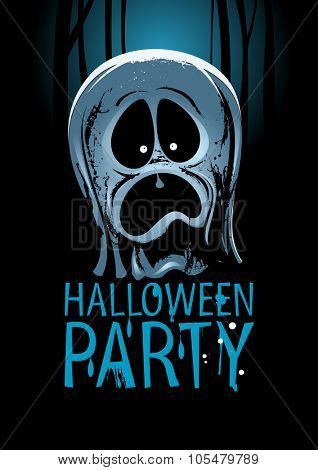 Halloween party design with screaming ghost, rasterized version.
