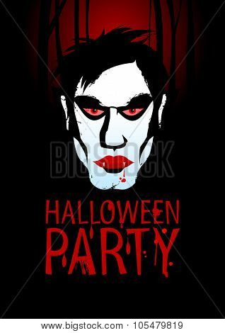 Halloween Party Design template with vampire, rasterized version.