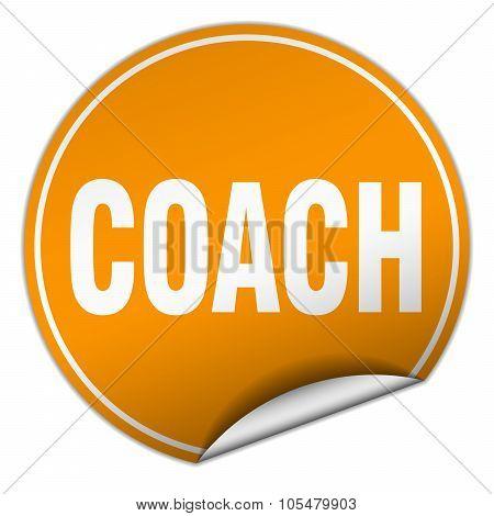 Coach Round Orange Sticker Isolated On White