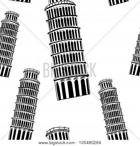Sketch Pisa tower  seamless pattern
