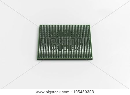 Microchip Bga With Lead Balls For Repair Computer Equipment Vector Illustration