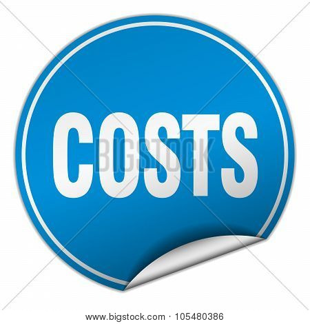 Costs Round Blue Sticker Isolated On White