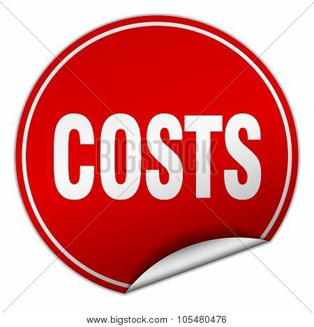 Costs Round Red Sticker Isolated On White