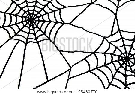 Black Spiderweb As Halloween Background With Isolated Space