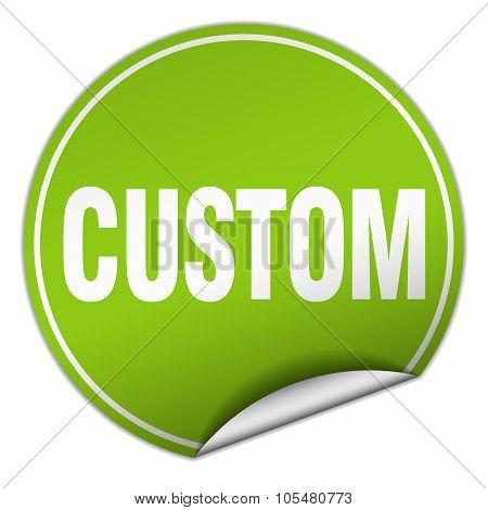 Custom Round Green Sticker Isolated On White